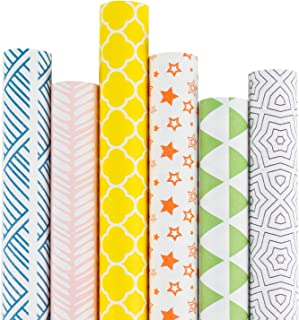 RUSPEPA Kraft Gift Wrapping Paper -Multi Color Printed Wrapping Paper for Birthdays, Valentines, Christmas-6 Roll-30Inch X 10Feet Per Roll