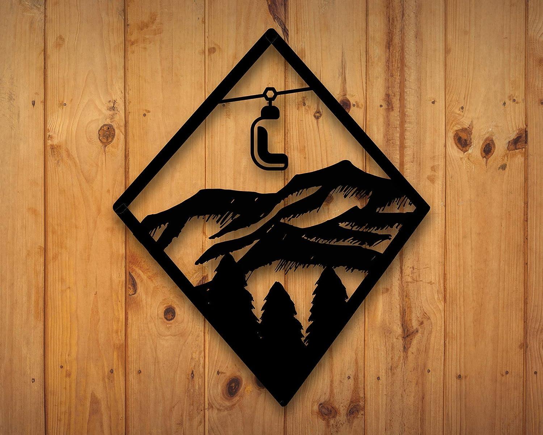 Mountain with Trees Metal Wall Art Home Decor Gift for Snowboarders Snowboarder Metal Wall Art Ski Lift Metal Wall Decor Skiers