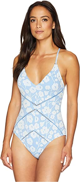 Sadie V-Neck Crisscross Back Ties One-Piece