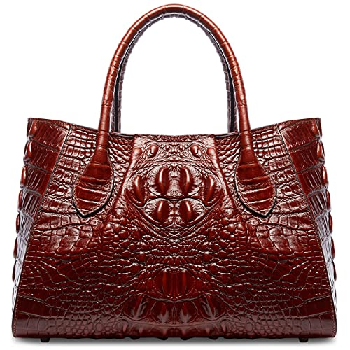 e9177bdaac PIFUREN Designer Crocodile Top Handle Handbags Womens Genuine Leather Tote  Bags