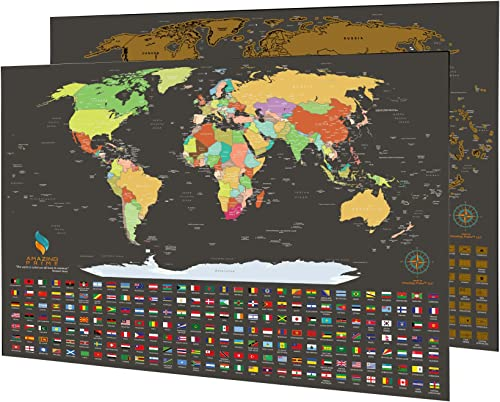 """discount Scratch new arrival Off The World Map Poster   Travel Tracker Map Print Flags of All Countries   The Most Detailed Scratch-Off Map with All outlet online sale 210 Countries and Depended Territories   17"""" X 24""""   Amazing Prime outlet online sale"""