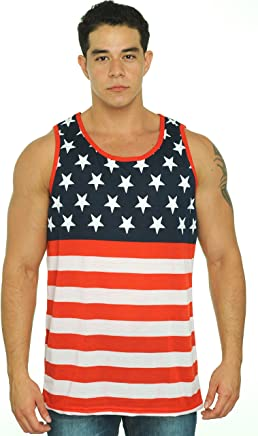 50a6485abb8 Exist Men s USA Flag Tank Top America Stars   Stripes