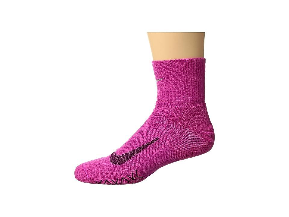 Nike Elite Cushion Quarter Running Socks (Lethal Pink/Black) Quarter Length Socks Shoes