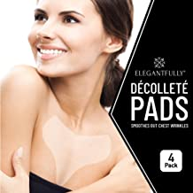 4 PACK - ElegantFully Anti Wrinkle Chest Pads - Reusable Silicone Pad for Décolleté and Wrinkle Prevention - Lightweight and Skin Safe, Adhesive Derma Patch for Day or Overnight Wear