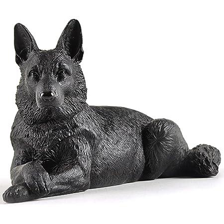 9 Hand Sculpted Stoneware Black German Shepherd
