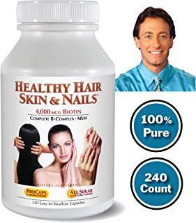 Andrew Lessman Healthy Hair, Skin & Nails 240 Count – 4000 mcg High Bioactivity Biotin, MSM, Full B-Complex Promotes Beautiful Hair, Skin and Strong Nails - No Additives. Easy to Swallow Capsules