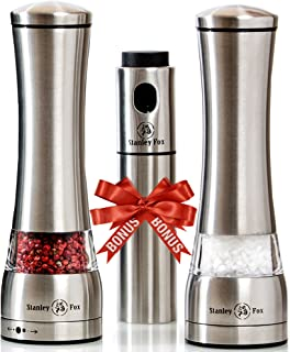 Premium Salt and Pepper Grinder Set of 3 - Oil Dispenser + Stainless Steel Salt Grinder and Pepper Mill– Salt and Pepper Shakers with Ceramic Rotor - Box by Stanley Fox (2 pcs + sprayer)