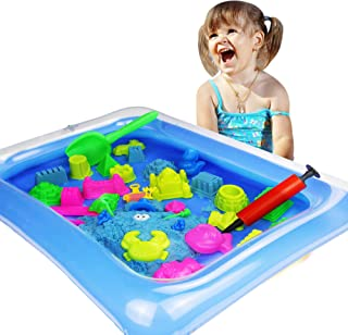 Zuzu Boom Play Sand and Sand Molds Kit - Including Moon Sand 2LB(Blue) Inflatable Tray, Storage Box, 50 Pieces Magic Sand Molds - Deluxe Castle Set