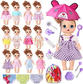 Voccim Doll Clothes Outfits for Bitty Baby Alive Doll Accessories Including Dresses Underwear Umbrella Milk Bottles Bag for American Girl Dolls 12'' 13'' 14'' 15 Inch