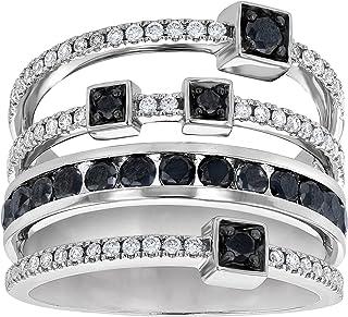 Olivia Paris 14k White Gold Black and White Diamond Geometric Art Deco Ring (1 1/4 cttw, H-I, I1)
