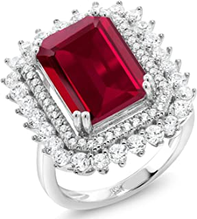 925 Sterling Silver Red Created Ruby Women's Ring (8.60 Cttw Emerald Cut Available 5,6,7,8,9)