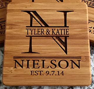 Personalized Wedding Gifts and Bridal Shower Gifts - Monogram Wood Coasters for Drinks (1 Coaster, Nielson Design)