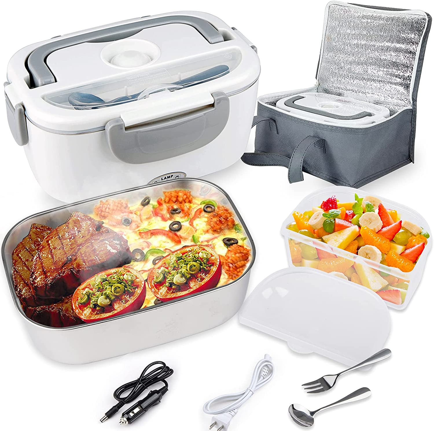 Electric Lunch Box 2-In-1 Portable Food Warmer 1.5L for Car, Truck, Home and Work 12V & 110V, Includes Leak Proof, 2 Compartments, Removable 304 Stainless Steel Container, Spoon & Fork and Carry Bag