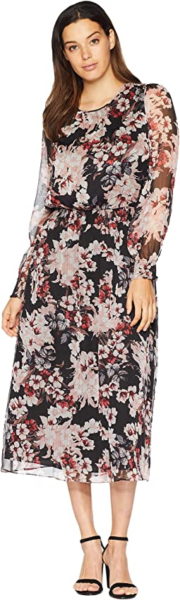 Long Sleeve Timeless Blooms Cinch Waist Dress
