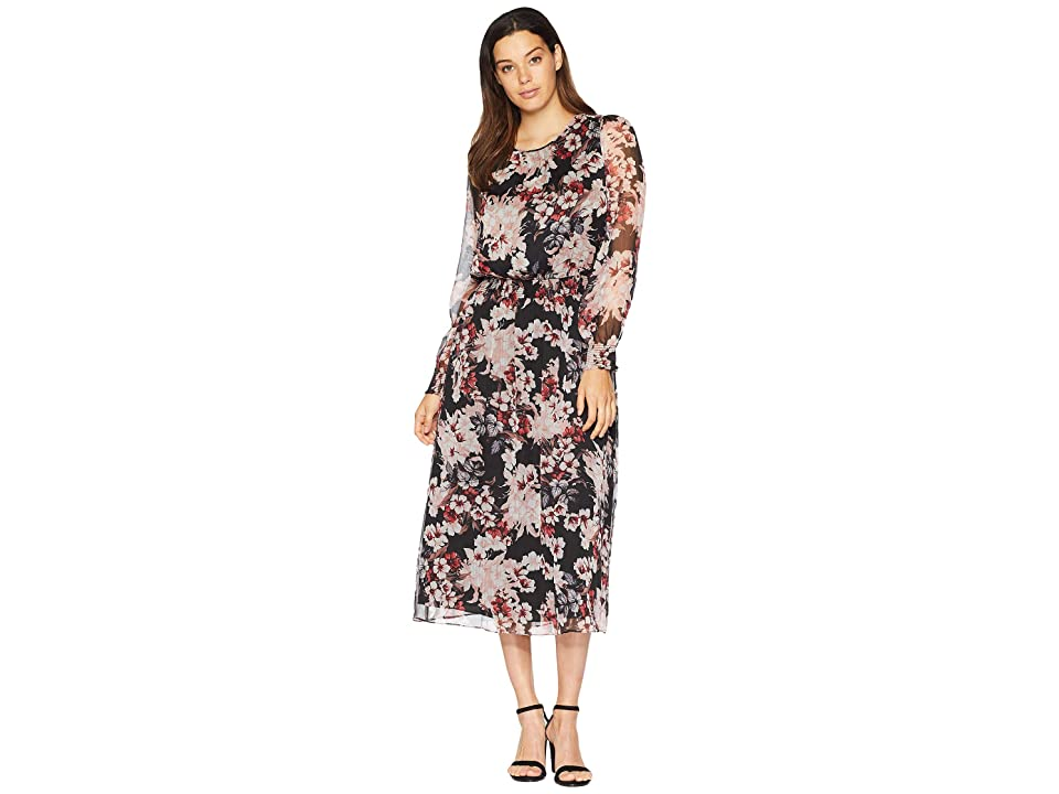 Vince Camuto Long Sleeve Timeless Blooms Cinch Waist Dress (Rich Black) Women