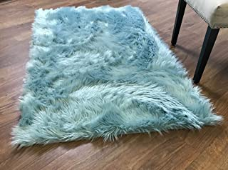 Super Area Rugs Soft Faux Fur Sheepskin Shag Silky Rug Baby Nursery Childrens Room Rug Teal, 2' x 3'