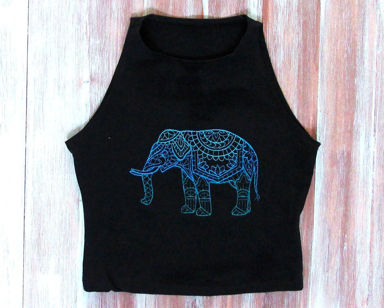 Boho Elephant Crop Bargain sale Top-Festival Limited time cheap sale Clothing-Mandala