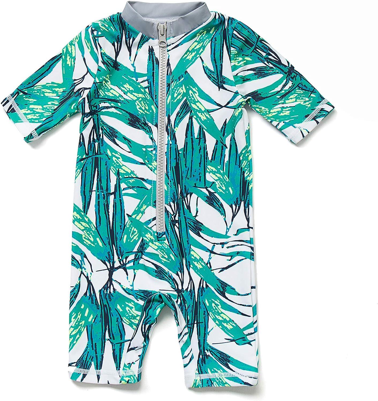 Baby Boy One-Piece UPF50 Sunsuit Infant UV Sun Protection Kids 3//4 Sleeve Zipper Swimsuit