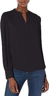 Marchio Amazon - Lark & Ro - Long Sleeve Band Collar Gathered Detail Blouse, dress-shirts Donna