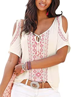Womens Cold Shoulder Casual Blouse Ethnic Style Printed Tunic Bohemian Shirt Tops (S-XXL)