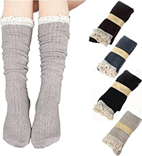 4 Pairs Women Crochet Lace Trim Cotton Knit Footed Leg Boot Knee High Stocking
