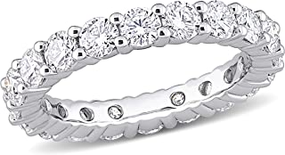 Sponsored Ad - Abbie+Cleo Round Shape Created White Moissanite Gemstone Eternity Band Ring in Rhodium Flash Plated Sterlin...