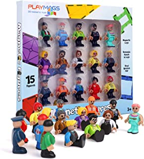 Playmags Magnetic Figures-Community Figures Set of 15 Pieces - Play People Perfect for Magnetic Tiles - STEM Learning Toys...