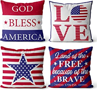 """4th of July Throw Pillow Covers 18""""×18"""" Set of 4, Stars Stripes American Flag Patriotic Throw Pillow Covers for Living Roo..."""