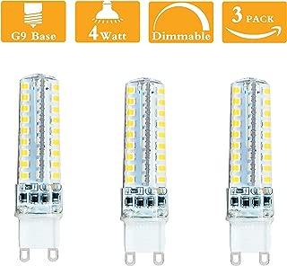 (Pack of 3) Dimmable 4 Watt LED G9 Lamp Equivalent 35-40Watt G9 Halogen Bulb,G9 Bi pin Base 6000K Cool White 120 Volt 400 Lumens 360 Beam Angle T4 G9 Bulb