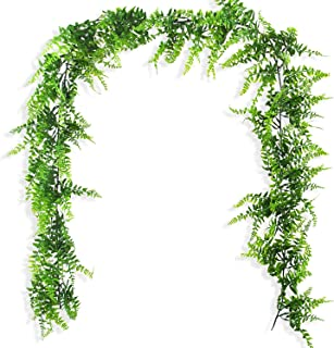 Ollain Artificial Boston Fern Vines Ferns Persian Rattan Greenery Fake Plants Faux Plant Vine Outdoor UV Resistant for Wall Indoor Hanging Garland Backdrop Arch Wall Decor (70