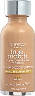 L'Oreal Paris Makeup True Match Super-Blendable Liquid Foundation, Natural Beige W4, 1 Fl Oz,1 Count