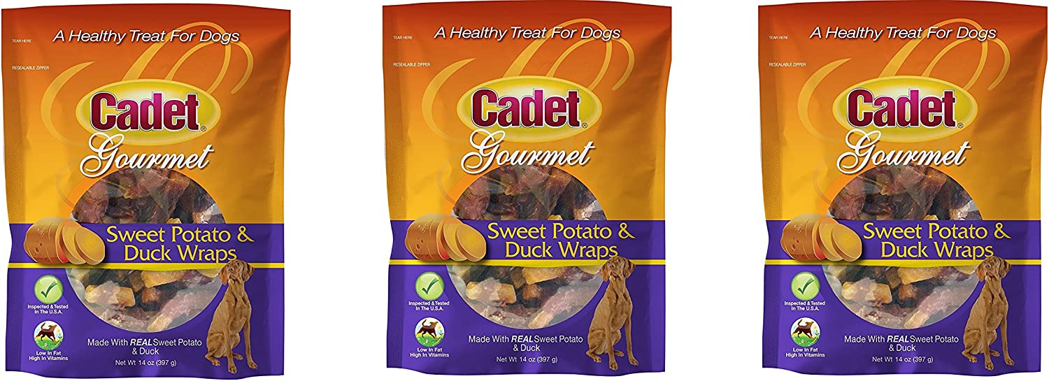 Cadet Gourmet Dog Treats. Sweet Potato and Duck Wraps Size 42 Oz Packs  by Cadet