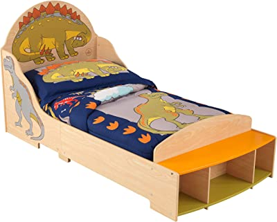 KidKraft 86938 Cama infantil con diseño dinosaurio con marco de madera, muebles para dormitorio de