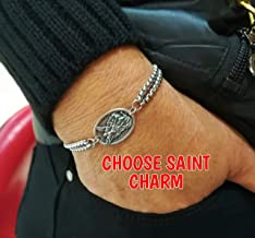 Double Stainless Steel Chain Catholic Saint Medal Bracelet - Choose Your Saint - Religious Jewelry Gift For Men Women Kids