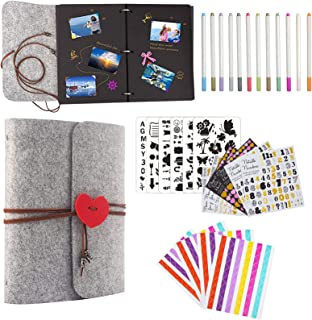 Album Photo Scrapbooking - Livre Photo 30 Pages Noir, DIY Scrapbook Photo Livre Auto-conçu Scrapbook avec kit d'accessoire...