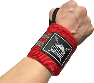 """Mars Premium Quality Wrist Wraps 18"""" (1 Pair) Athletics – Weightlifting,  Powerlifting,  Crossfit,  and Others - Reduce Pain,  Risk of Wrist Injury,  and Lift Heavier (Red,  Gray,  18)"""
