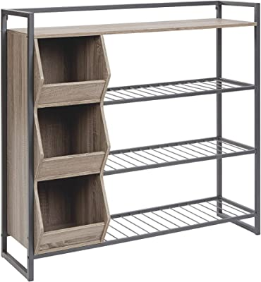 43.25 Inches 3 Cubby Shoe Rack with 4 Shelves