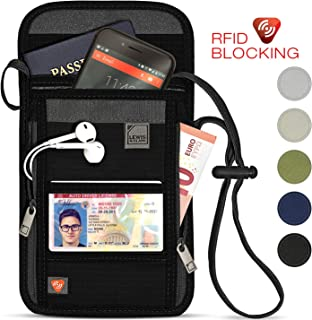 RFID Blocking Stash Neck Wallet, Travel Pouch + Passport Holder for Women & Men, Black