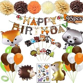 Funnlot Woodland Baby Shower Decorations 95PCS Woodland Party Supplies Woodland Party Decorations Including Happy Birthday...