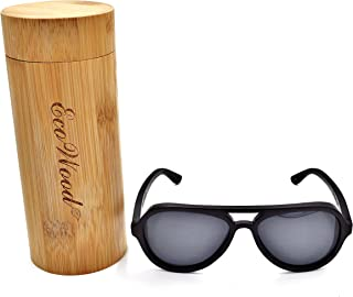 Wood Aviators Sunglasses Polarized Lens Handmade with Bamboo Case by EcoWood