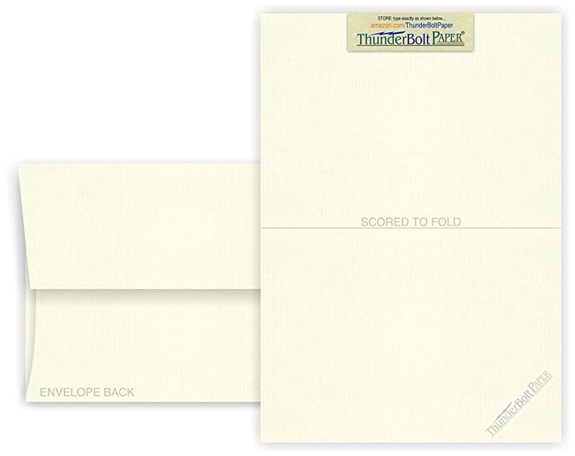 5X7 Folded Size with A-7 Envelopes - Natural Off White Linen - 25 Sets (7X10 Cards Scored to Fold in Half) Blank Matching Pack Invitations, Thank Yous, Notes, 80# Cardstock by Thunderbolt Paper