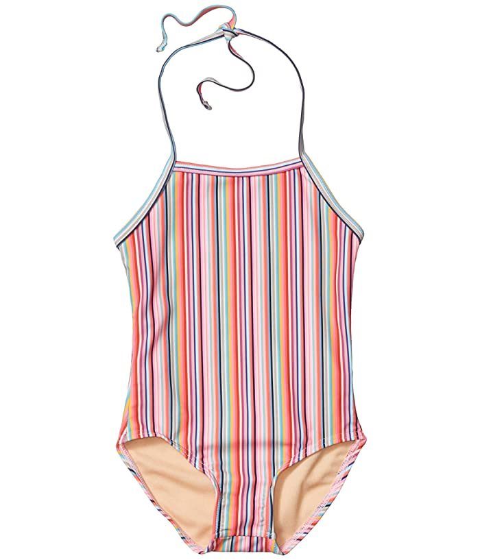 Toobydoo  Retro Rainbow Stripes One-Piece Swimsuit (Toddler/Little Kids/Big Kids) (Pink) Girls Swimsuits One Piece