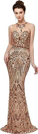 dbc33cbf Lazacos Women's Mermaid High Neck Applique Sequin Beading Prom Dress 2018  Long Evening Gown