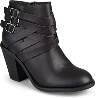 Journee Collection Women's Multi Strap Ankle Boots Black, 6.5 Wide Width US