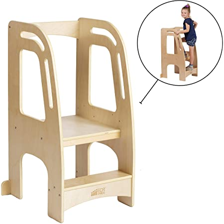 ECR4Kids Chef's Helper Kitchen Tower-Wooden Toddler Two-Step Learning Safety Rails-Kids Stool with Adjustable Platform Height, Natural Finish, Beige