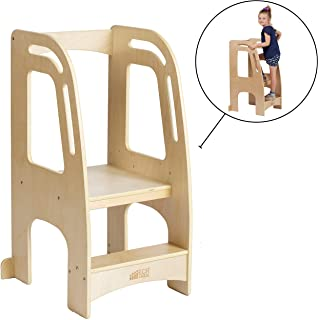 ECR4Kids Chef's Helper Kitchen Tower-Wooden Toddler Two-Step Learning Safety Rails-Kids Stool with Adjustable Platform Hei...