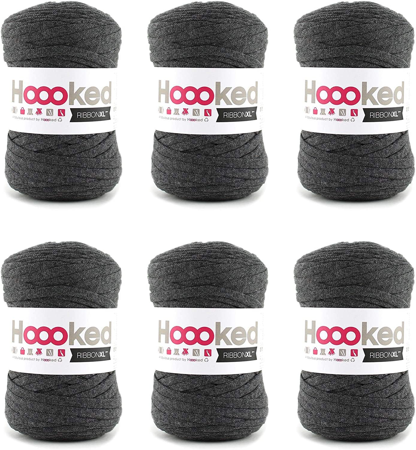 Hoooked RibbonXL Charcoal Anthracite 80% Cotton TShirt Yarn  120m (393.7'), 250g, Pack of 6
