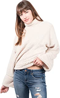 Women's Sherpa Fleece Sweatshirt Mock Turtleneck Pullover