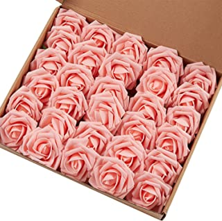 Marry Acting Artificial Flower Rose, 30pcs Real Touch Artificial Roses for DIY Bouquets Wedding Party Baby Shower Home Decor (Light Pink)