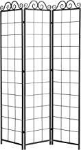3-Panel Black Metal Wire Trellis Divider Screen (Pot Holders Sold Separately)